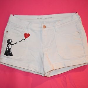 Hand Painted White Denim Shorts -Old Navy Size 6/8